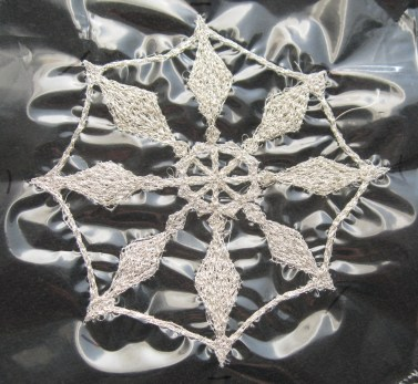 Finished large snowflake on the dissolvable stuff